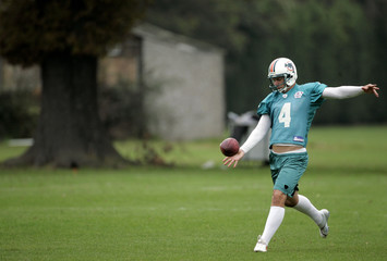 Miami Dolphins player Fields attends a training session in west London