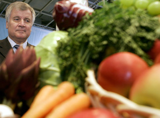 German Health and Consumer Protection Minister Seehofer stands behind display of fruit and vegetables at a exhibition stand in Berlin