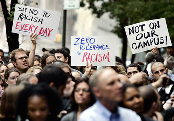 Demonstrators gather at a rally outside the Teachers College of Columbia University in New York
