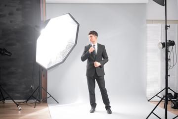 Professional model posing in studio