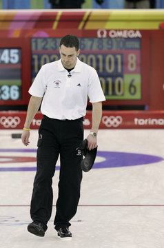 British skip Murdoch leaves ice after losing men's curling bronze match to the US at the Winter Olympic Games
