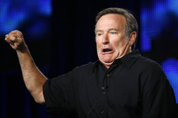 "Robin Williams gestures during a panel discussion for his upcoming HBO show ""Robin Williams: Weapons of Self-Destruction"" at the Television Critics Association Cable summer press tour in Pasadena"