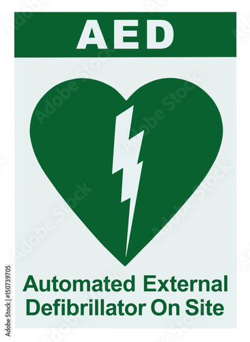 Aed Automated External Defibrillator Inside On Site Text Green Icon