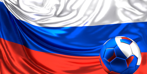 flag of russia 3d rendering background with soccer ball