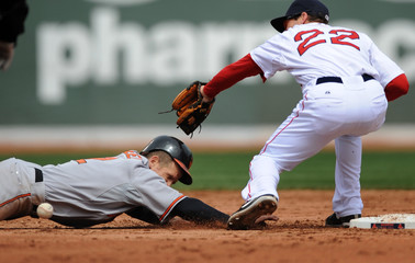 The ball ricochets off of Baltimore Oriole baserunner Ryan Freel's  helmet as he dives back toward second base past Boston Red Sox Nick Green during the third inning of their American League MLB baseball game at Fenway Park in Boston