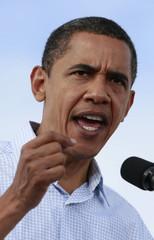 U.S. Democratic presidential nominee Obama speaks at a rally in Henderson