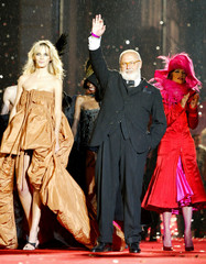 GIANFRANCO FERRE WALKS ON RUNWAY DURING LIFE BALL IN VIENNA.