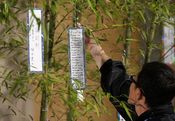 A man adjusts U.S. President George W. Bush wish card as it hangs from a bamboo tree at a Tanabata ceremony at the G8 Summit at The Windsor Hotel Toya Resort and Spa in Toyako