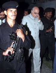 INDIAN INTERIOR MINISTER ADVANI IS GUARDED AFTER A MEETING IN SRINAGAR.
