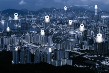 Map pin flat on blue tone Hong Kong cityscape background and network connection concept - Network business conection system
