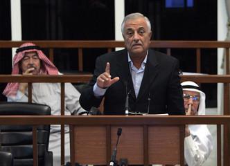 Former Iraqi President Saddam Hussein's co-defendant Sabir al-Douri testifies during their trial in Baghdad