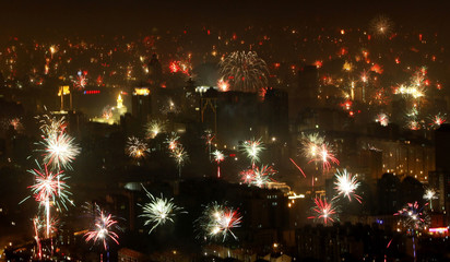 Fireworks to celebrate Chinese New Year illuminate skyline of Beijing