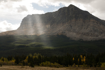 Sun Rays Break Clouds Rocky Mountains Montana Western State USA