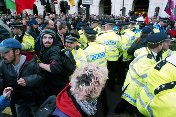 ANTI-WAR DEMONSTRATORS AND POLICE CLASH DURING MAYDAY RALLY IN LONDON.