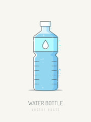 water bottle vector illustration in scribble line art style