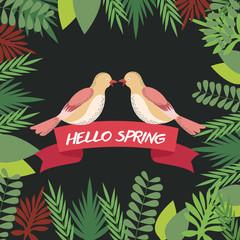 hello spring greeting card couple bird ribbon image vector illustration