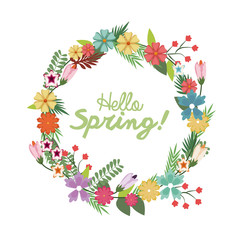 spring floral wreath poster with hand lettering design vector illustration