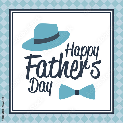 happy fathers day card. bow tie and hat card greeting decoration ...