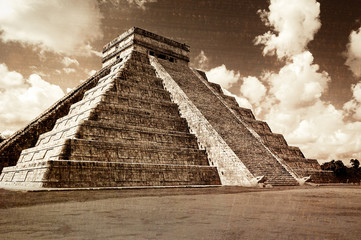 Vintage look of Mayan pyramid in Chicken Itza, Mexico