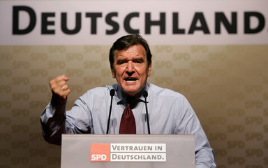 German Chancellor Gerhard Schroeder delivers speech during SPD election campaign rally in Hamburg.