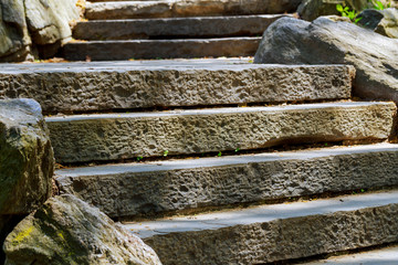 beautiful old stone stairs natural stone steps in summer park