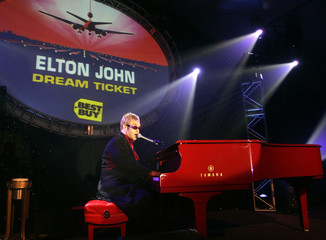 "Elton John performs during ""Dream Ticket"" launch party in Las Vegas."