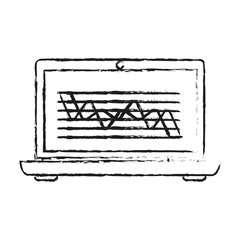 blurred silhouette cartoon laptop computer with statistics in screen vector illustration