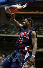 James of the U.S. dunks against Greece during his team's semi-final game at the world basketball championships game in Saitama