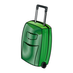 travel case wheel travel handle image vector illustration