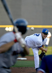 Trenton Thunder pitcher Roger Clemens delivers a pitch to the Portland Sea Dogs Bryan Pritz during first inning Eastern minor league baseball action in Trenton