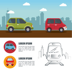 Means of transport infographic with cars, daytime city skyline and hand-drawn railway. Vector illustration.