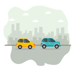 Yellow and blue vehicles with city skyline icon over white background. Vector illustration.