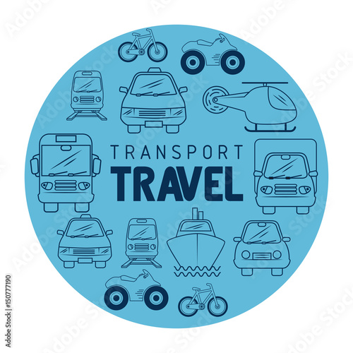 transport travel icon with hand drawn means of transport over white