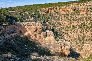 People walking along the Bright Angel Trail in Grand Canyon, Arizona
