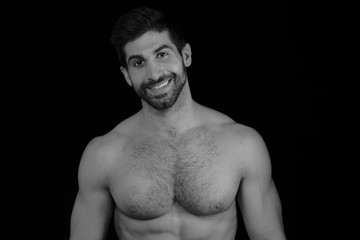 Dark Haired Shirtless Man Smiling