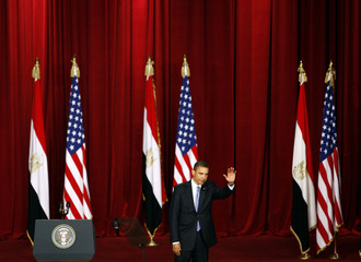 U.S. President Barack Obama delivers a speech in the Grand Hall of Cairo University