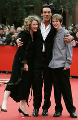 Director Kirsten Sheridan, actor Jonathan Rhys Meyers and actor Freddie Highmore pose at the premiere of  'August Rush' at the Rome International Film Festival
