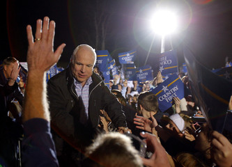 U.S. Republican presidential nominee Senator John McCain greets supporters at a campaign rally in Lancaster