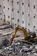 Excavation and construction for new towers at World Trade Center site in New York