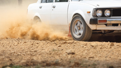 Door stickers Motor sports Retro Rally Car turning in dirt track