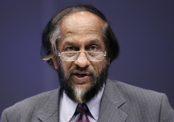 IPCC Chairman Pachauri delivers a speech in Brussels