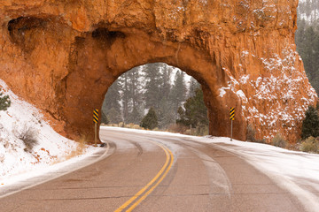 Utah Highway 12 Tunnel Through Red Canyon Winter Snow