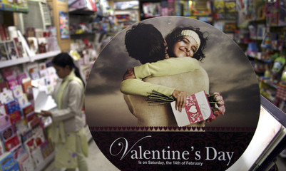 A Valentine's Day sign is displayed at a shop in Siliguri