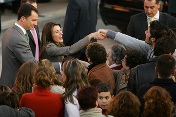 Spain's Crown Prince Felipe and his wife Princess Letizia greet crowd during a visit to Almonte, southern Spain