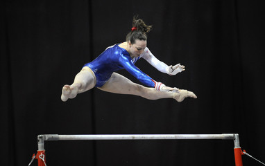 Tweddle competes during qualification for the Glasgow Gymnastics Grand Prix in Glasgow