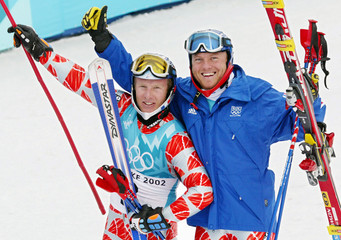 VIDAL AND AMIEZ OF FRANCE CELEBRATE GOLD AND SILVER MEDALS IN SLALOM.
