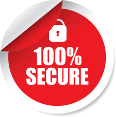 100% secure red Label, Sticker, Tag, Sign And Icon Banner Business Concept, Design Modern.