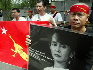 SUPPORTERS OF MYANMARS AUNG SAN SUU KYI HOLD RALLY IN SEOUL.