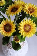 clay art, yellow sunflower pot
