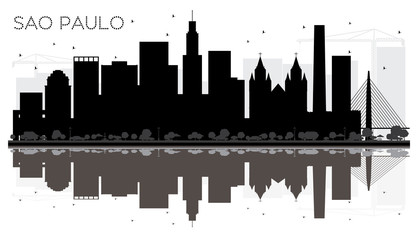 Sao Paulo City skyline black and white silhouette with reflections.